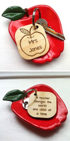 Teacher thank you personalised keyring. I just love this! definitely going to be what I get my my son's teacher next year! By Auntie Mims    NOTHS