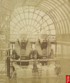 Construction of the Egyptian Court inside the Crystal Palace, London