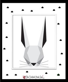Modern Rabbit Art print by thetickledpinkfox on Etsy Cute Poster, Rabbit Art, Symbols, Posters, Art Prints, Unique Jewelry, Handmade Gifts, Illustration, Modern