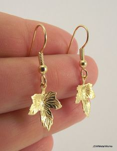 Small Gold Leaf Earrings by JSWMetalWorks