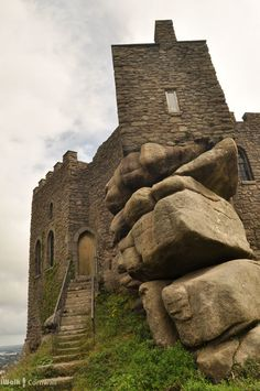 Looking up at Carn Brea castle, Cornwall