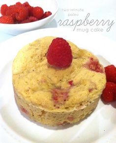 2 Minute Paleo Raspberry Mug Cake - 1 egg, 3 tbsps mashed banana, 1½ tbsps coconut flour, ½ tbsp honey (for sugar-free version, use almond milk instead + 5-10 drops liquid stevia), 1 tsp vanilla, ½ tsp baking powder, dash of salt, 8-10 raspberries (broken into pieces).