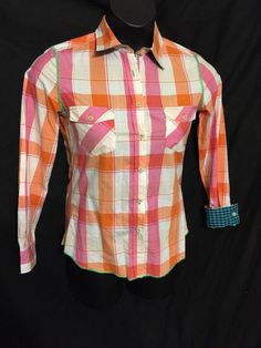 PINK ORANGE ARNOLD ZIMBERG WOMEN TOP STITCHES BUTTON DOWN PLAIDS POCKETS SIZE S | Clothing, Shoes & Accessories, Women's Clothing, Tops & Blouses | eBay!