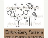 Little Peacock and Flowers 15053 – Cute Embroidery Pattern – PDF – Mod whimsical… - Stickerei Ideen Cute Embroidery Patterns, Embroidery Designs, Modern Embroidery, Silk Ribbon Embroidery, Embroidery Applique, Cross Stitch Embroidery, Machine Embroidery, Flower Embroidery, Flower Patterns