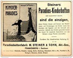 Original-Werbung/ Anzeige 1909 -  STEINER´S KINDER - PARADIESBETTEN / FRANKENBERG IN SACHSEN - ca. 180 x 140 mm
