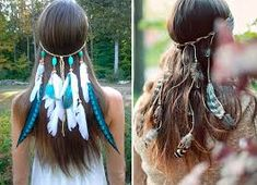 Boho Coiffure Serre-Tête Cheveux Plume Indien Hippie Hairband Party G