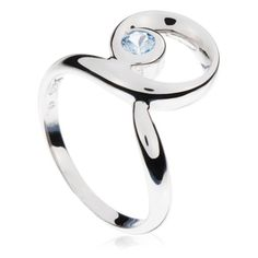 Blue Round Spiral Ring in Sterling Silver