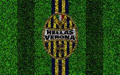 Download wallpapers Hellas Verona FC, 4k, logo, football lawn, Italian football club, blue yellow lines, emblem, grass texture, Serie A, Verona, Italy, football