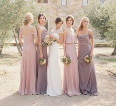 Bridesmaids all in pastel shades. #bridesmaids #dresses #pastel #shades