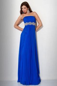 Chic Trägerlos Blaues A Linie Bodenlang Abendkleid aus Chiffon
