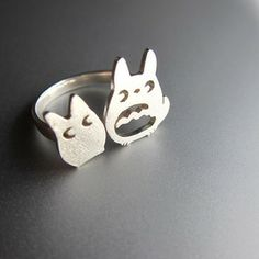 Image of My Neighbor Totoro (となりのトトロ) Silver Ring - Handmade Silver Ring (IT'S SO CUTE!!)