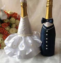 Свадебные аксессуары ручной работы. Ярмарка Мастеров - ручная работа. Купить Оформление свадебного шампанского. Handmade. Разноцветный, шампанское в подарок