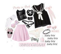 """Punk baby💕"" by xx-pretty-boy-xx ❤ liked on Polyvore featuring Rock Star Baby, ASOS, LaDress, Girly, undrest., Essie, Eddie Borgo, Panda, Berthold and black"