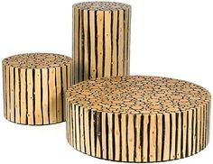 This set of alder-branch furniture objects by Brent Comber is compelling in part precisely because of this contrast between exactitude and natural variegation. By cutting cleanly across each surface, the visual qualities of the wood (particularly the contrasting dark bark and light log interior) stand out all the more clearly along the sides and top.