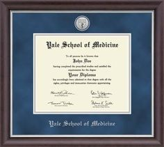 Yale School of Medicine Diploma Frame - Features a two-toned medallion of your school seal set into navy suede and silver museum-quality matting, with the school name embossed in silver. The Devonshire moulding is crafted of hardwood with a dark espresso satin finish and silver inner lip.