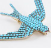 French 18kt Pave Turquoise Brooch