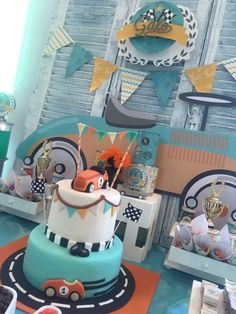 What a fun birthday cake for this vintage cars birthday party! See more party ideas at http://CatchMyParty.com