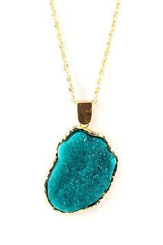 Turquoise druzy pendant necklace!
