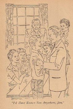 A joyful reunion. (14) Illustration by Mary Stevens is from the 1950 Dustjacket edition of Trixie Belden and the Red Trailer Mystery