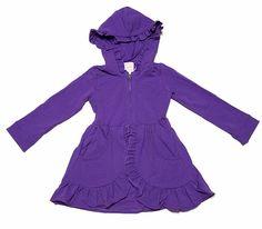 Lemon Loves Lime Girls Deep Lavender Purple Hooded Pixie Jacket