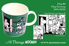 Moomin mug #11 by Arabia Mug #11 - Drawing Produced: 1996-2002 Illustrated by Tove Slotte and manufactured by Arabia. The original comic strip can be found in Moomin comic album #2.