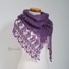 Crochet scarf / shawl lace with red glass beads Plum by Berniolie