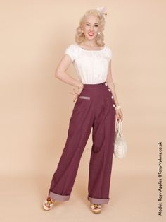 1940s Swing Trousers Purple Denim ($74) - avail in wide variety of colors