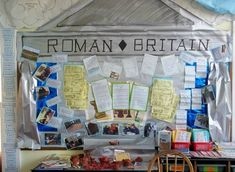 year 3 Roman Britain display using silver display paper. Not shown in photo, but also had clouds above of the Roman gods looking down. Class Displays, School Displays, Classroom Displays, Primary History, Teaching History, Teaching Resources, Romans Ks2, The Romans, Ks2 Classroom