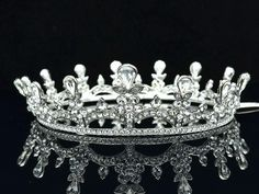 Round Clear Swarovski Crystal Drop Bridesmaid Bride Bridal Tiara Crown SH8850A | eBay