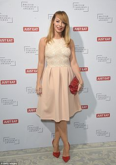 Pretty sweet: Liz McClarnon wowed in a sugary-sweet pale pink dress with red accessories. Red Accessories, Vernon, Lbd, Pale Pink, Pink Dress, Red Carpet, Awards, British, Husband