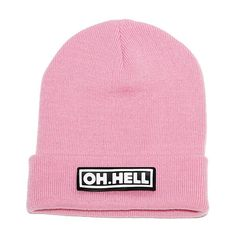 OH. HELL BEANIE PINK ($17) ❤ liked on Polyvore featuring accessories, hats, beanies, head, patch hat, pink hat, beanie cap, faux leather hat and beanie cap hat