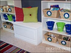 Delightful Order: Storing Children's Toys - Part 3 -Love the bench seat inbetween the shelves! Kids Room Organization, Playroom Ideas, Organizing Toys, Basement Ideas, Baby Shelves, Toy Storage, Storage Ideas, Kids Storage, Storage Chest