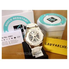Authentic Casio Baby-G White Watch. Brand new in box with tag, manual and warranty. Baby G, Casio Watch, Manual, Fans, Watches, Shit Happens, Box, Accessories, Snare Drum