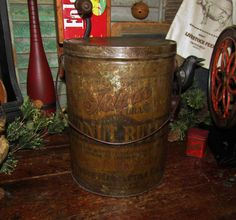 Primitive Antique Vtg Ideal Brand Peanut Butter Hogue Mercantile Co Metal Tin | eBay