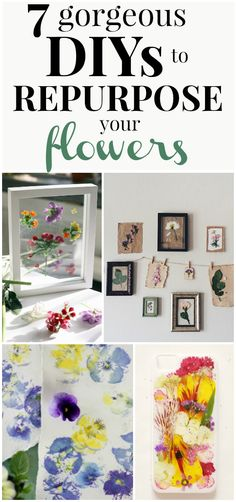7 DIYs to Make with Pressed Flowers to Make Your Home Beautiful   These DIYs made with real flowers are STUNNING! I can't wait to repurpose my flowers into my home decor! #repurpose #DIY #DIYhomedecor #homedecor