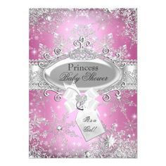 Oh my! How cute is this Pink Princess Winter Wonderland Baby Shower Invite? Perfect for honoring the mother to be and her little princess on the way. A gorgeous collage of winter bling and sparkle.