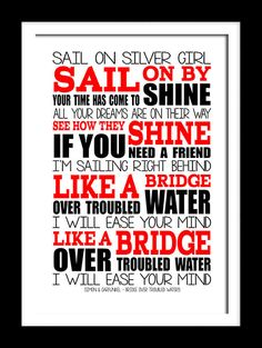 A3 Bridge over troubled waters Print Typography song music lyrics for framing   ( Print Only ) on Etsy, $20.72