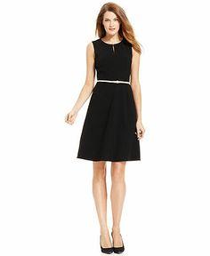 Calvin Klein Dress, Sleeveless Belted Full-Skirt - Womens Dresses - Macy's