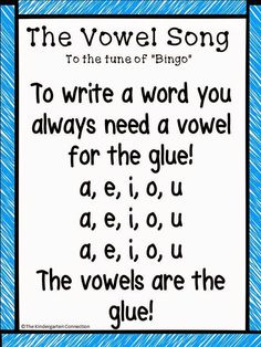 FREE Vowels are Glue! Practicing our CVC Words in kindergarten! Great ideas for a song and mini-lesson - and a FREE poster version of this song