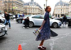 Michelle Elie in Delpozo shoes with a Prim by Michelle Elie bag