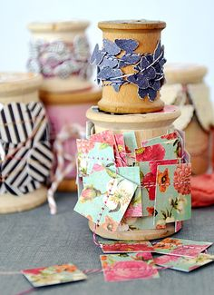 Punch scraps into different shapes, stitch together to make garlands for wrapping presents