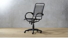Bungee-style cords, a gas lift, rolling casters and a swivel spin make this executive chair worth the ride to the top. Strong elastic black cords give firm, cushioned support and lessen fatigue. Cool Office Desk, Best Office Chair, Office Chairs, Office Furniture, Furniture Ideas, Lounge Chairs, Side Chairs, Multipurpose Guest Room, Comfortable Office Chair