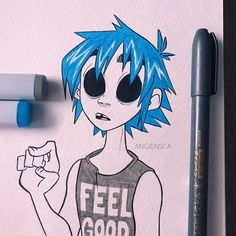 2D from #Gorillaz • Not sure if he fits the theme very well, but I just watched Gorillaz live the other night and it inspired me to draw him ✨ • • • #inktober2017 #copicmarkers #zebrapen