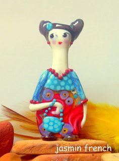 jasmin french ' MEGUMI ' lampwork big focal bead glass art pendant