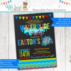 Stylish 6th pool themed birthday party invitation wording with pink waterslide birthday party invitation summer water party boy by tiffssweetdesigns on etsy https stopboris Image collections
