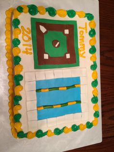Graduation cake for a young man who was on the baseball and swim teams in high school.