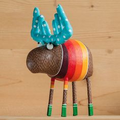 cheerful moose in the green socks by MarLitoys on Etsy