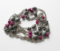 Monet Extra Long Necklace Chain Silver Tone with Beads Vintage Monet Necklace by artsix on Etsy