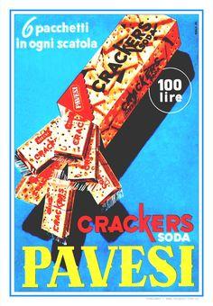 -CRACKERS SODA PAVESI-Milano 1956.                                                                                                                                             Seis paquetes en cada caja.                                                                                                                                                                                                                                                 Autor: anónimo