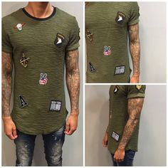 Army green long t-shirt with patches - Dopedfashion